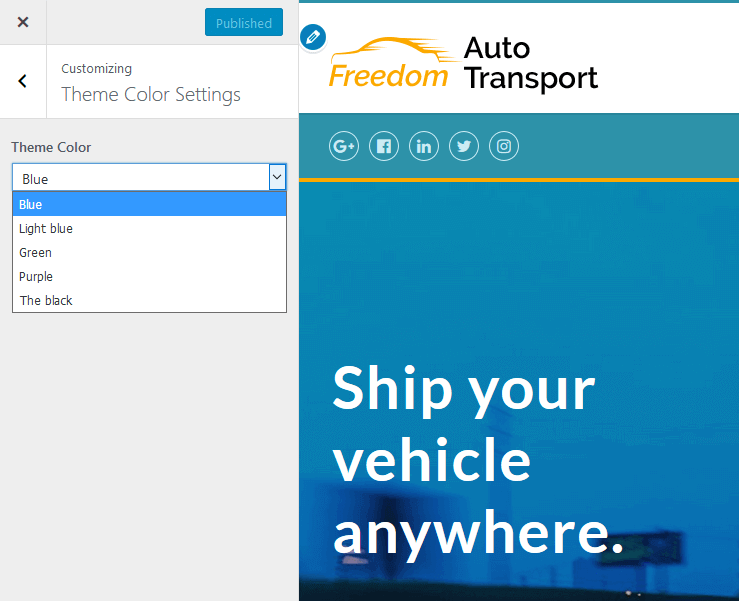 customizing theme color settings